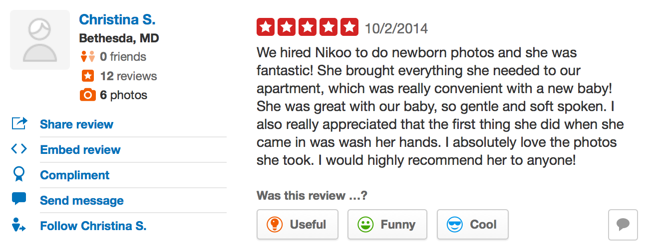 Testimonial for Nikoo's photos